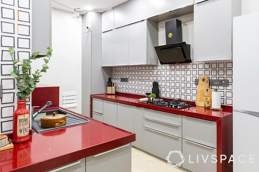red kitchen-pu finish cabinets