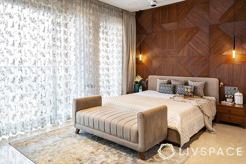 duplex interior design-wooden wall paneling-lace curtains
