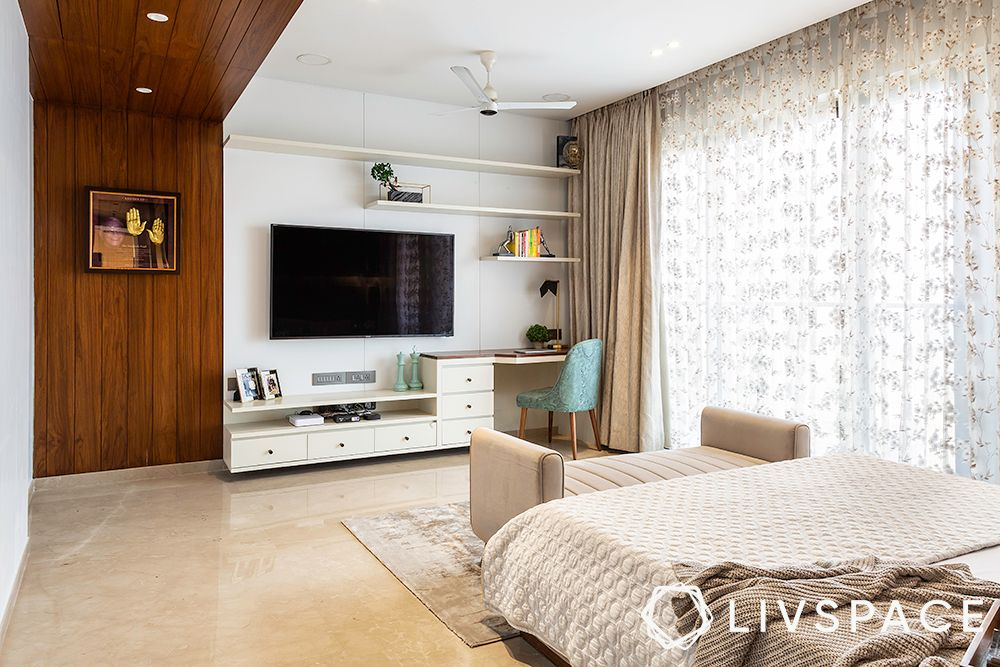 duplex interior design-wooden wall paneling-Tv unit