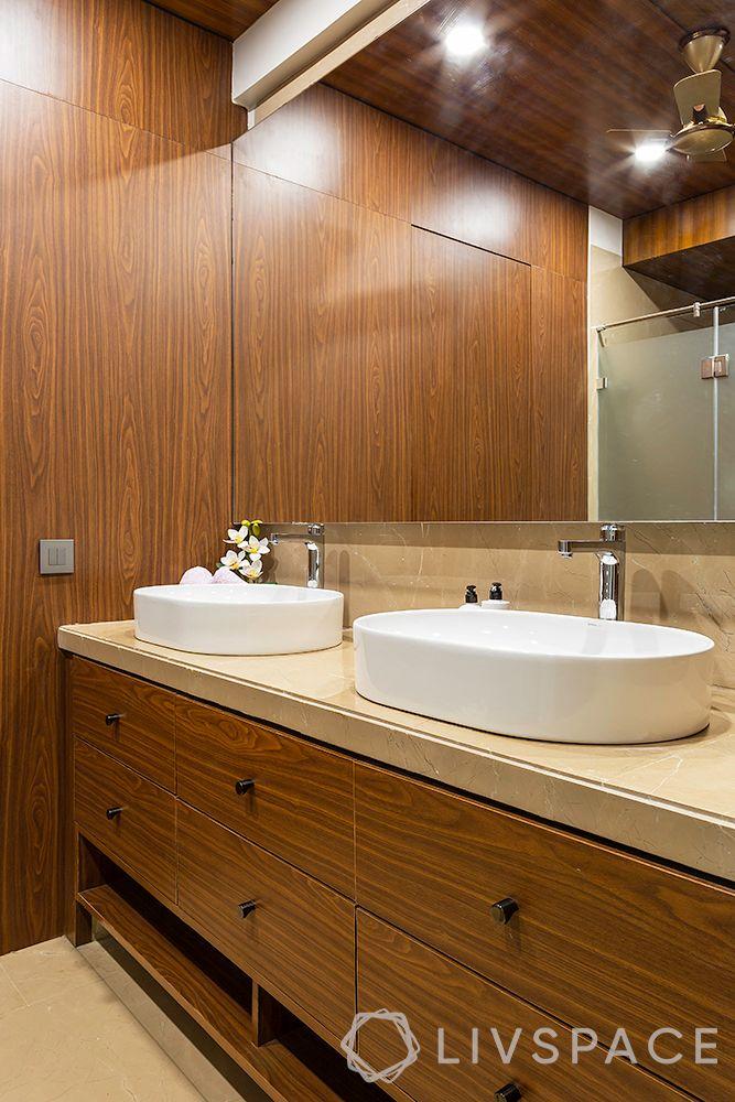 duplex interior design-wooden wall paneling-bathroom design