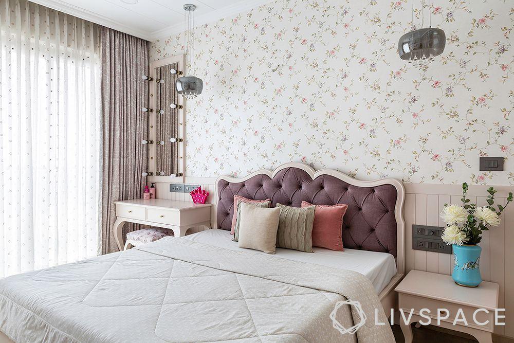 duplex interior design-french design-floral wallpaper