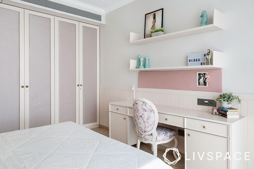 duplex interior design-fabric panelled wardrobe-pastel colours