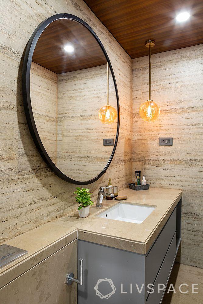 round mirror-quartz counter for bathroom