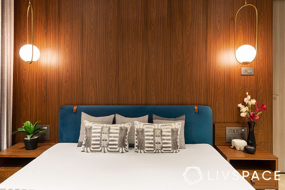 pendant light designs-wooden wall panelling