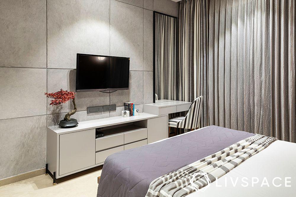 white tv unit-grey wall
