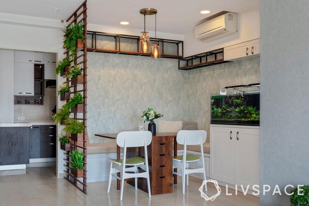 mumbai interiors-vertical garden-dining room divider