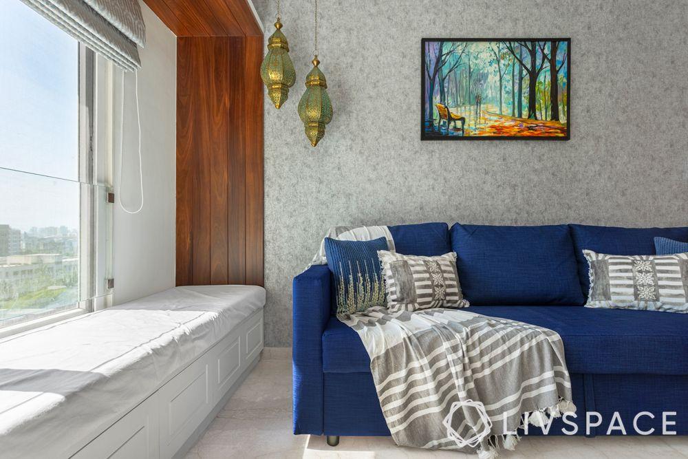 mumbai interiors-blue couch-window seating