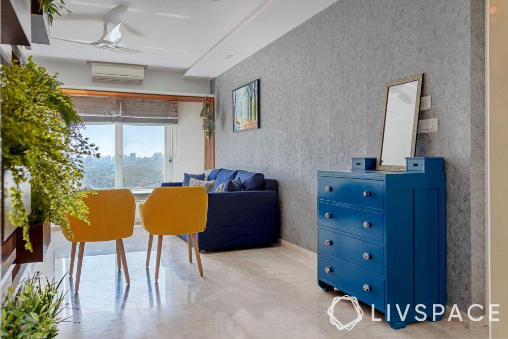 mumbai interiors-blue cabinet-chest of drawers