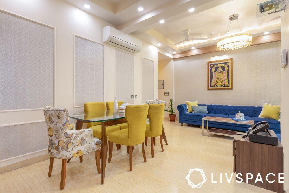 3bhk interiors-living room-dining room