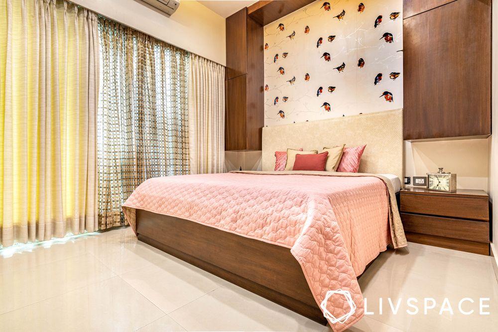 3bhk interiors-pastel bedroom-storage units