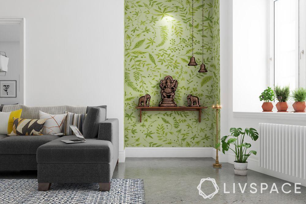 wall mandir design-colourful backdrop