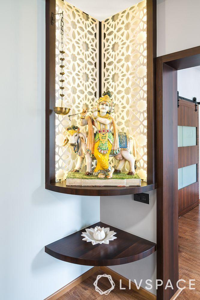 wall mandir design-intricate jali panel