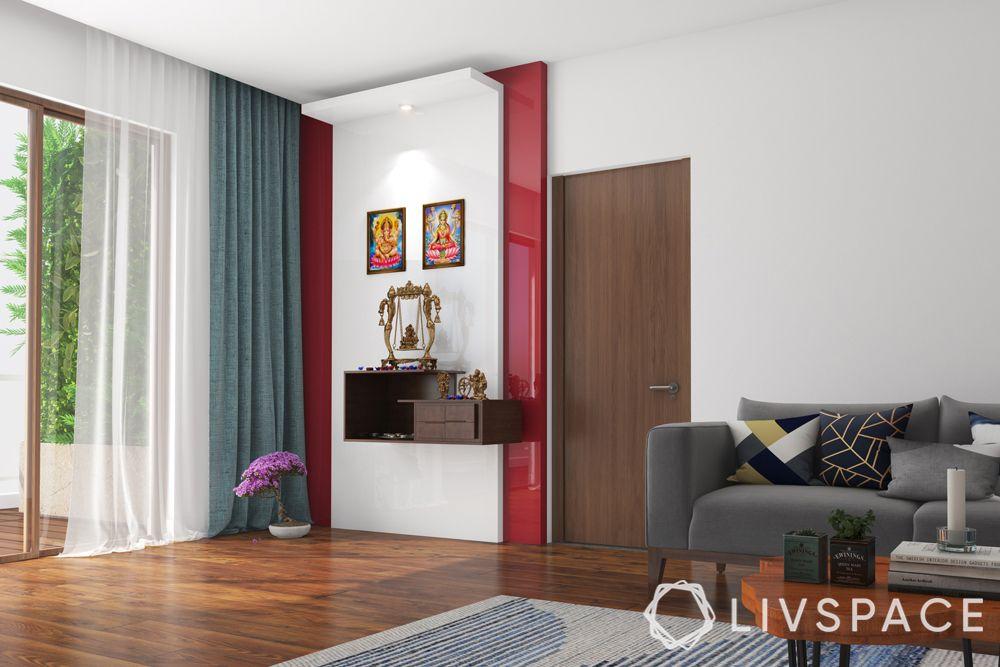 wall mandir design-red accent wall