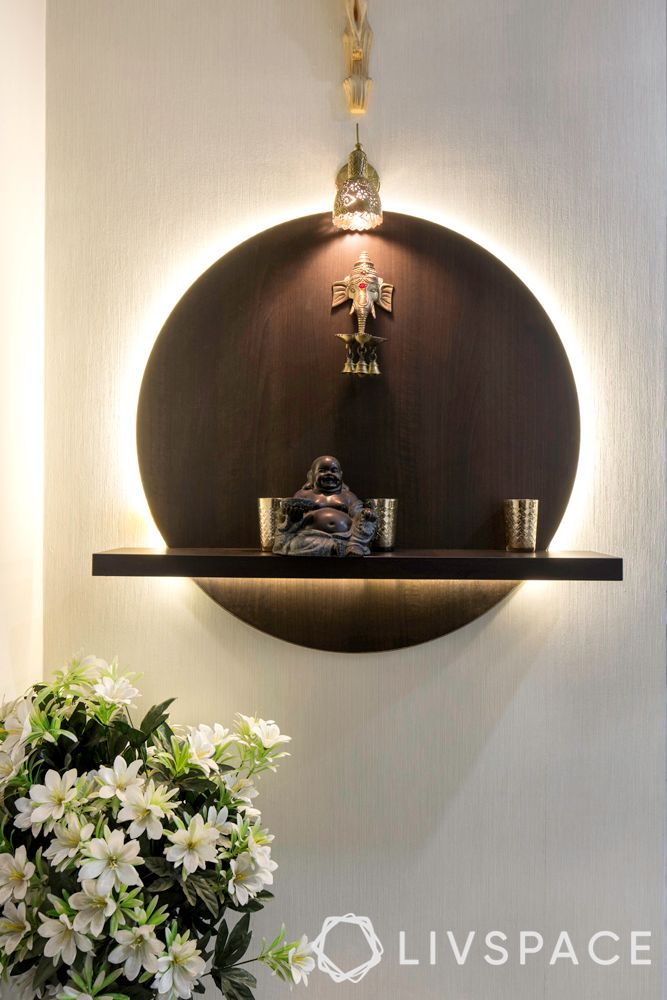 wall mounted mandir-coin shaped-contemporary-LED lights