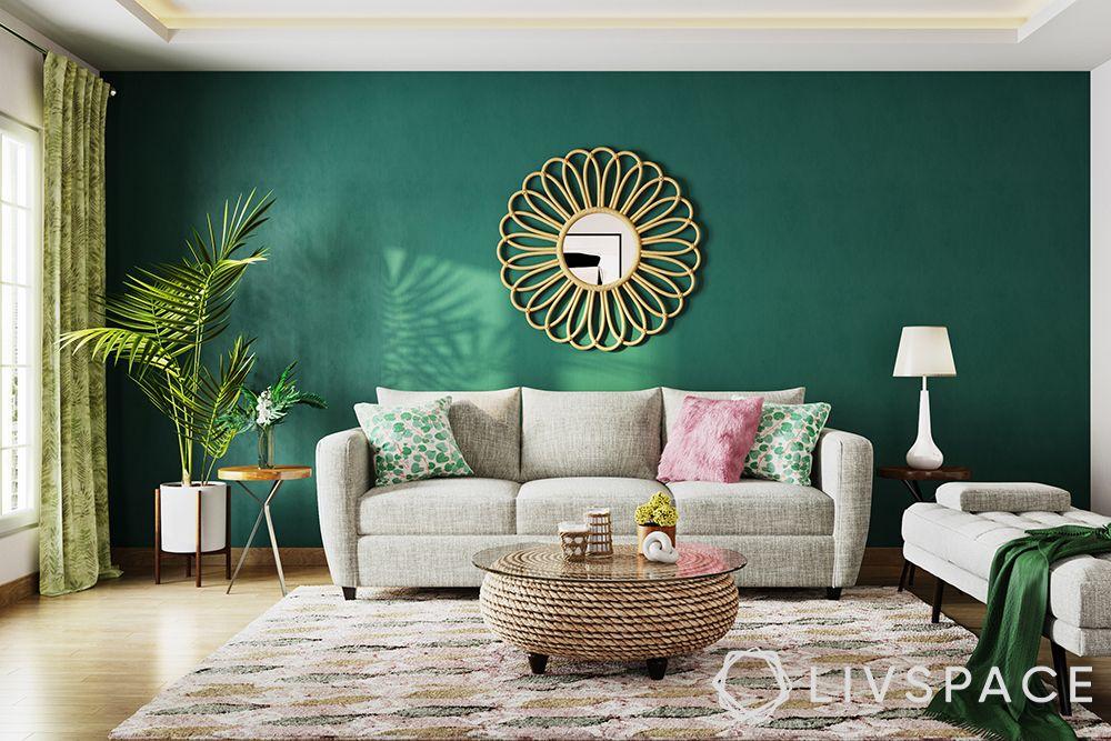 colour combination for living room-jewel tones-green walls-gold accent pieces