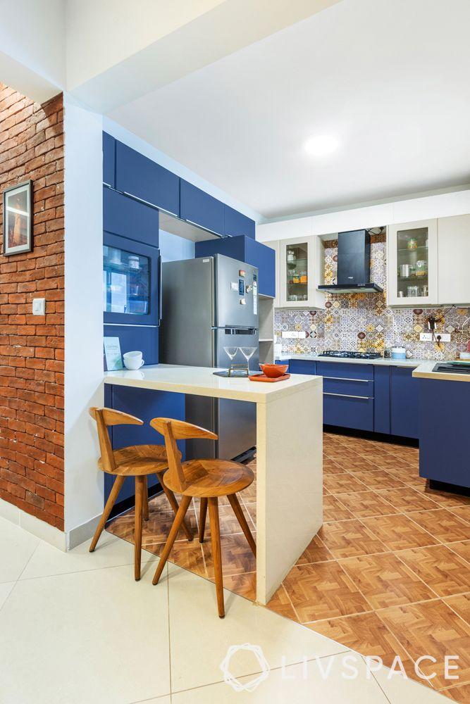 modern interior designer-breakfast counter-open blue kitchen