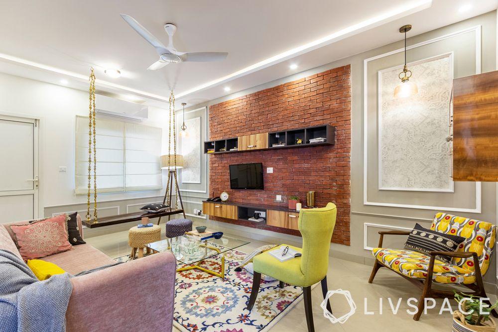 modern interior designer-exposed brick wall-swing designs