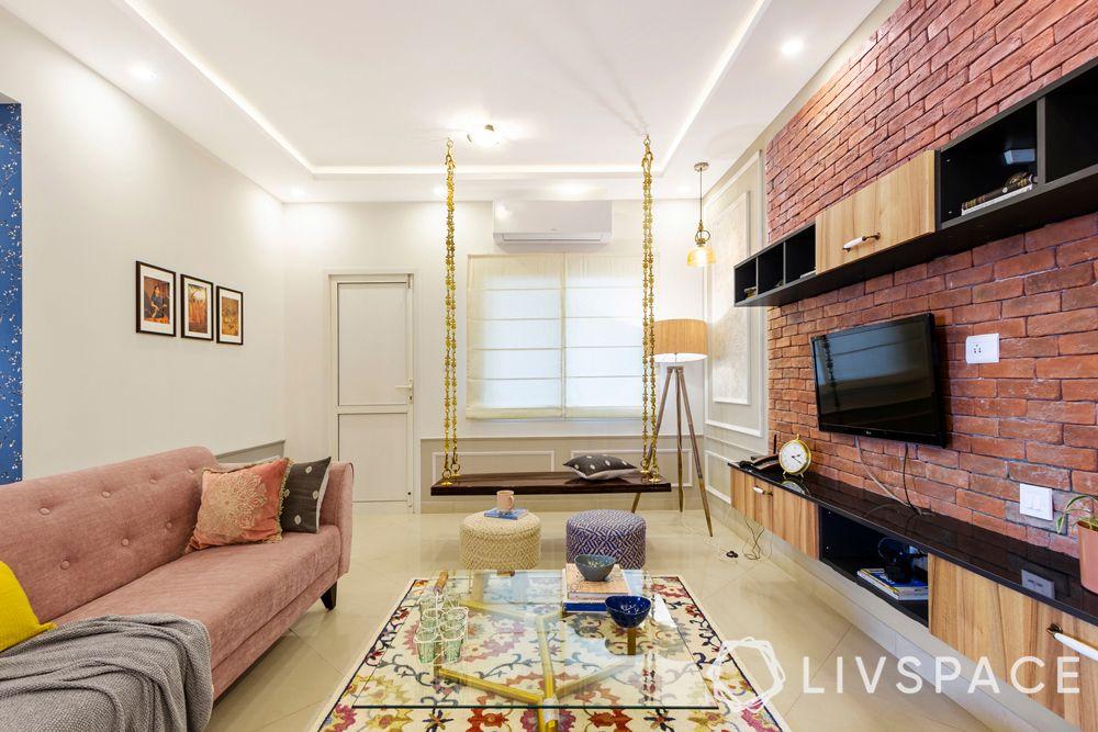 modern interior designer-brick wall-swing designs