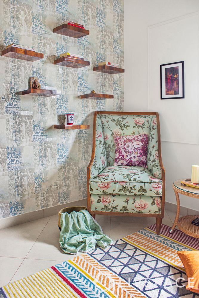 modern interior designer-reading chair-floating shelves