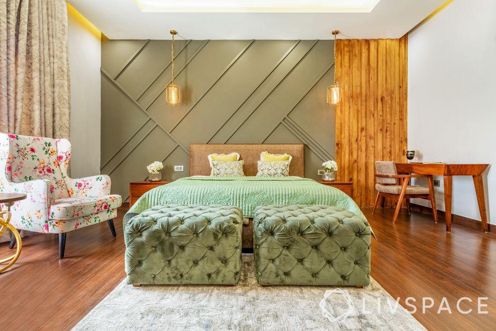 villa interior designer-green accent wall-wooden flooring