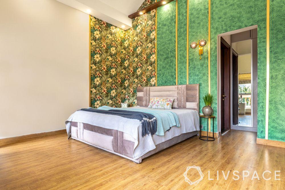 villa interior designer-green accent wall-floral wallpaper