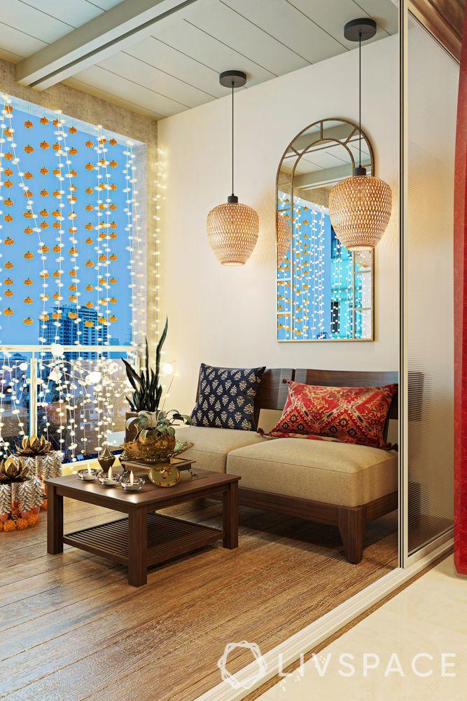 diwali decorate-diwali lighting balcony-festive decor for balcony