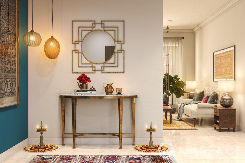 diwali decorate-diya decoration-foyer decoration for diwali