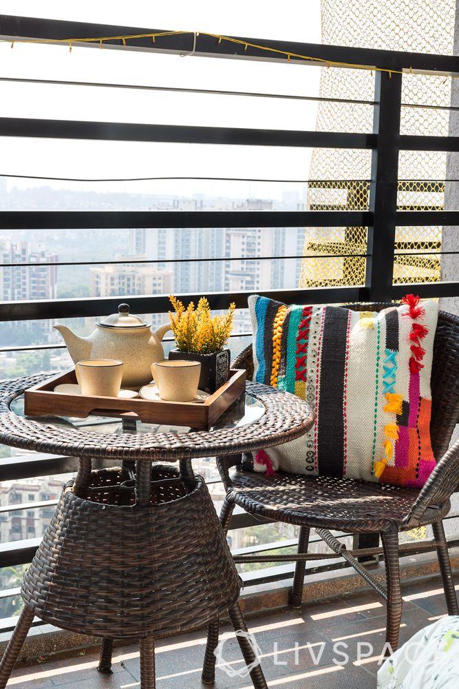 grill for balcony-raised railing-Boho theme