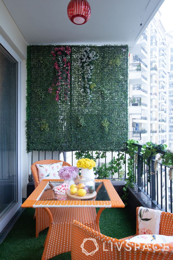 grill for balcony-vertical garden-plants on railing