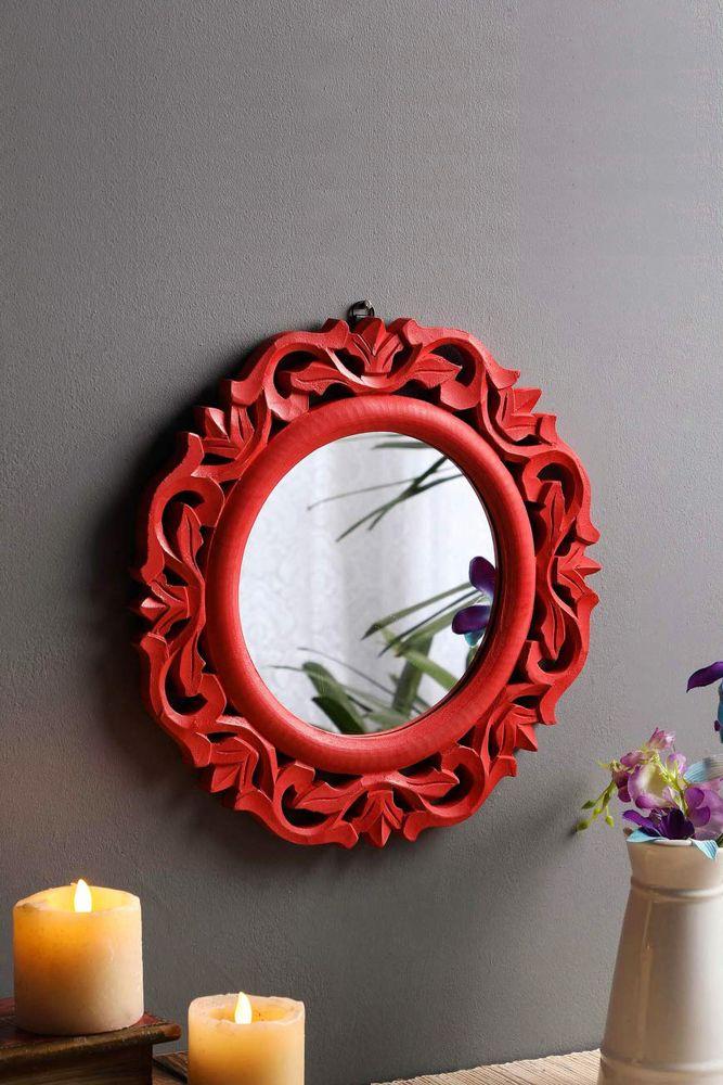 red mirror-wooden frame-round mirror