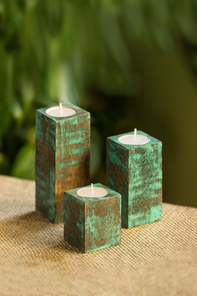 amazon shopping-wooden candle holder-teal candle holder