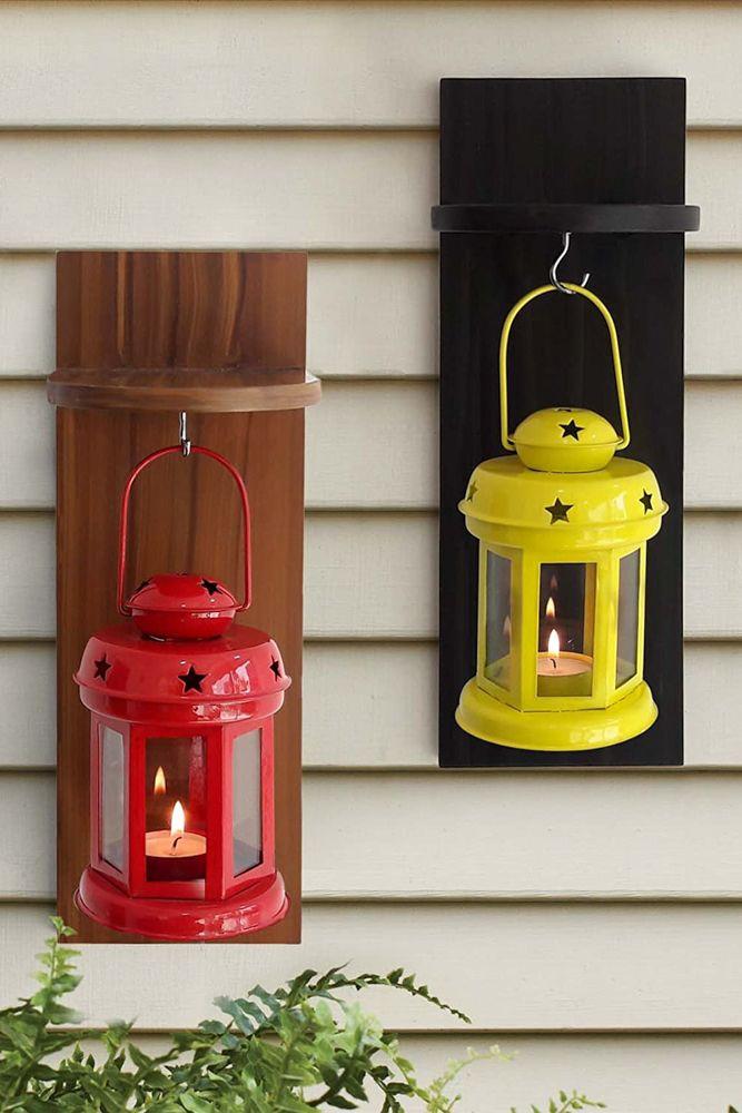 wooden shelves-shelves with lanterns