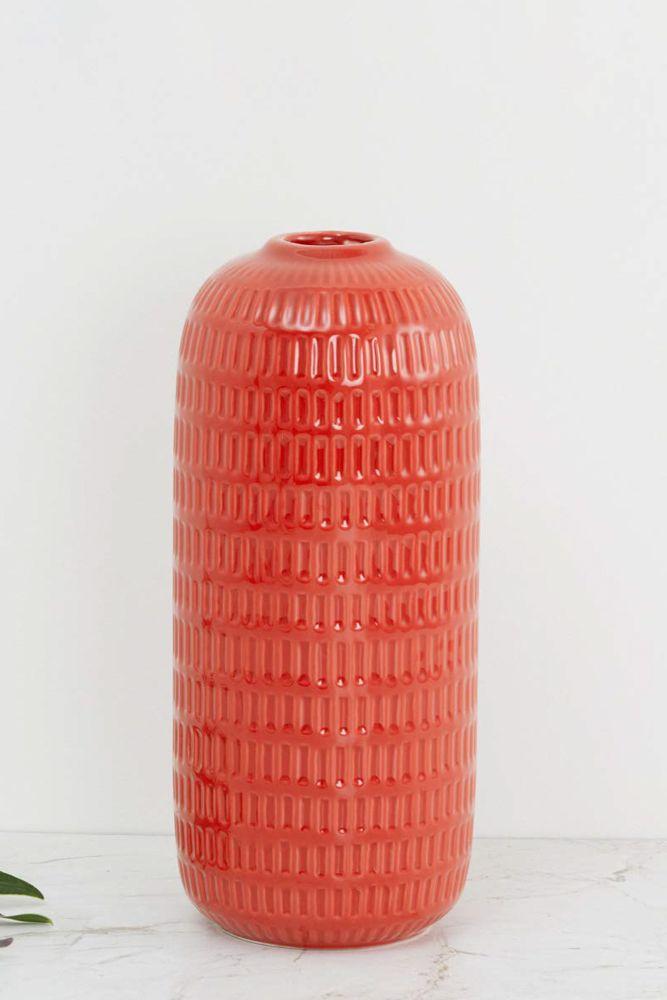 red vase-embossed vase
