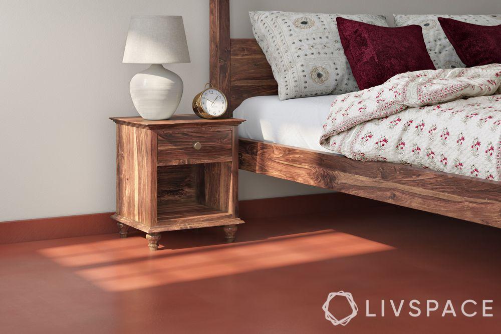 red oxide flooring-bedroom