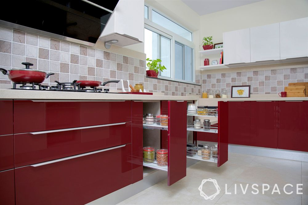 red kitchen-acrylic finish cabinets-bottle pull-out