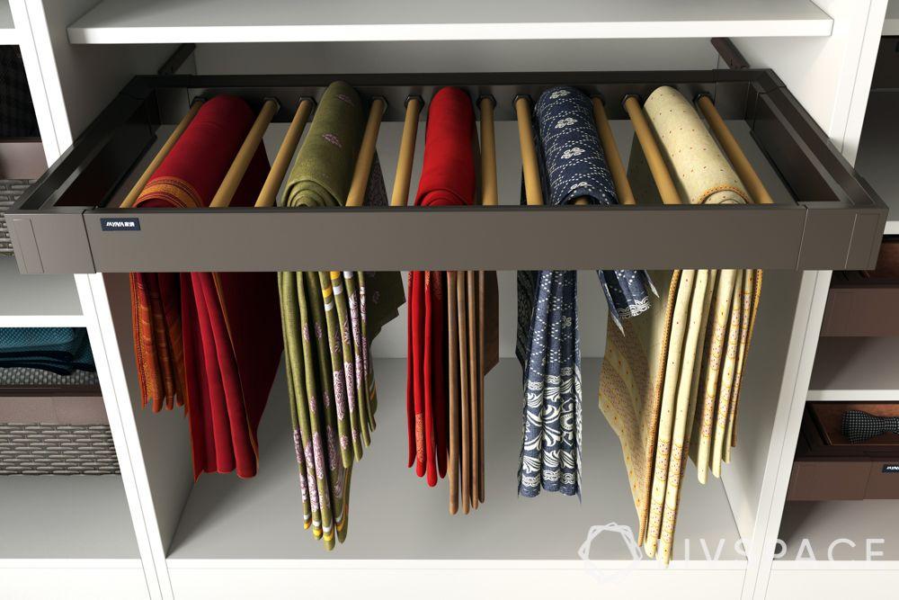 wardrobe design-almirah sections-saree rack