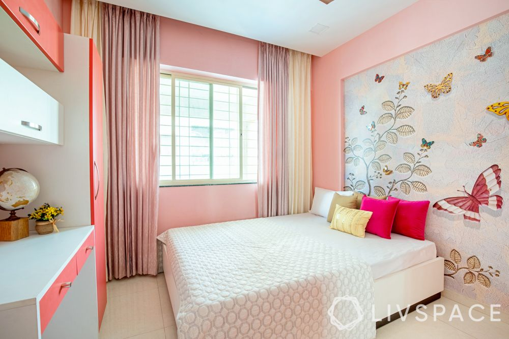 coral wallpaper-bed without headboard