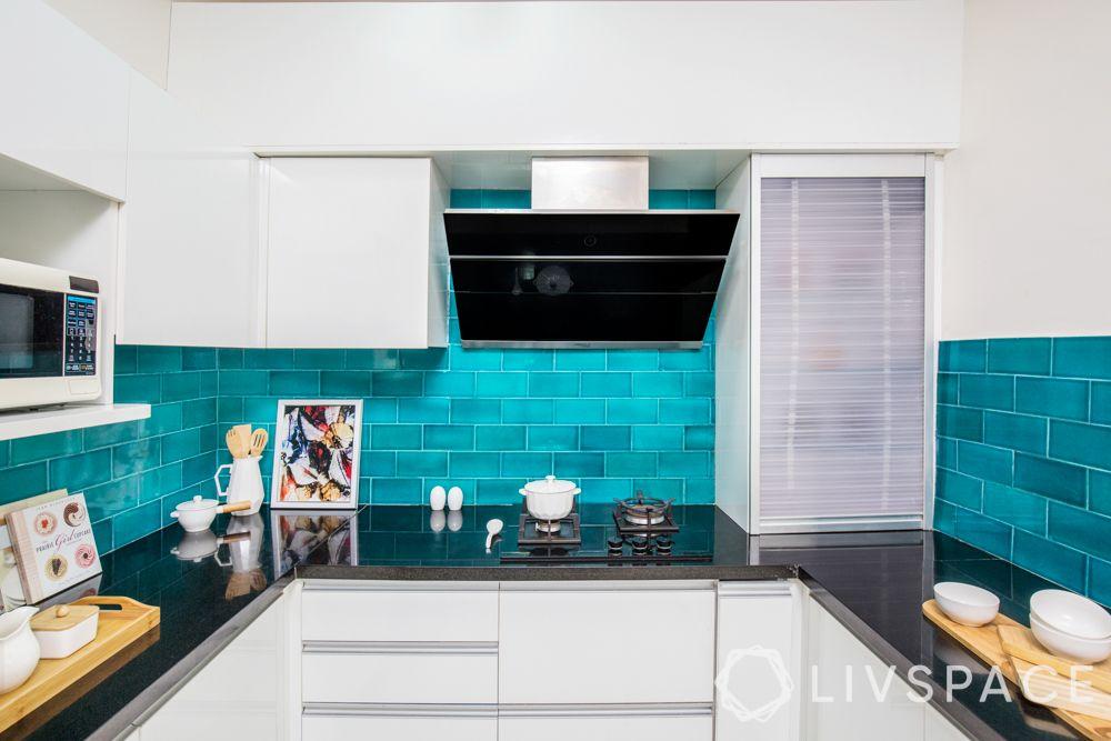 kitchen chimney design-wall mounted chimney-turquoise backdrop