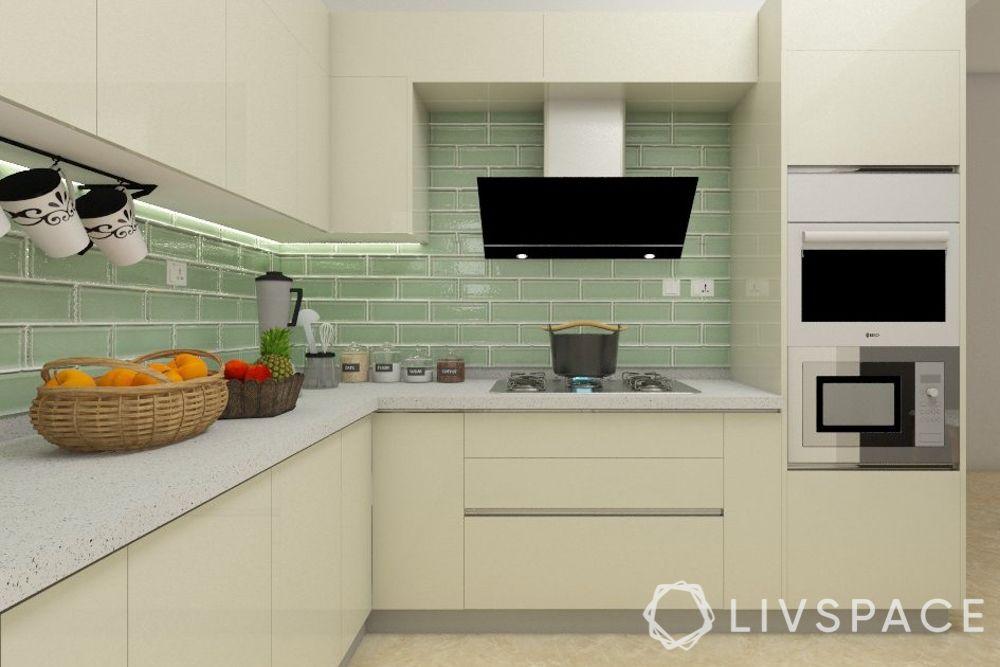 kitchen chimney design-angular chimney-teal backdrop