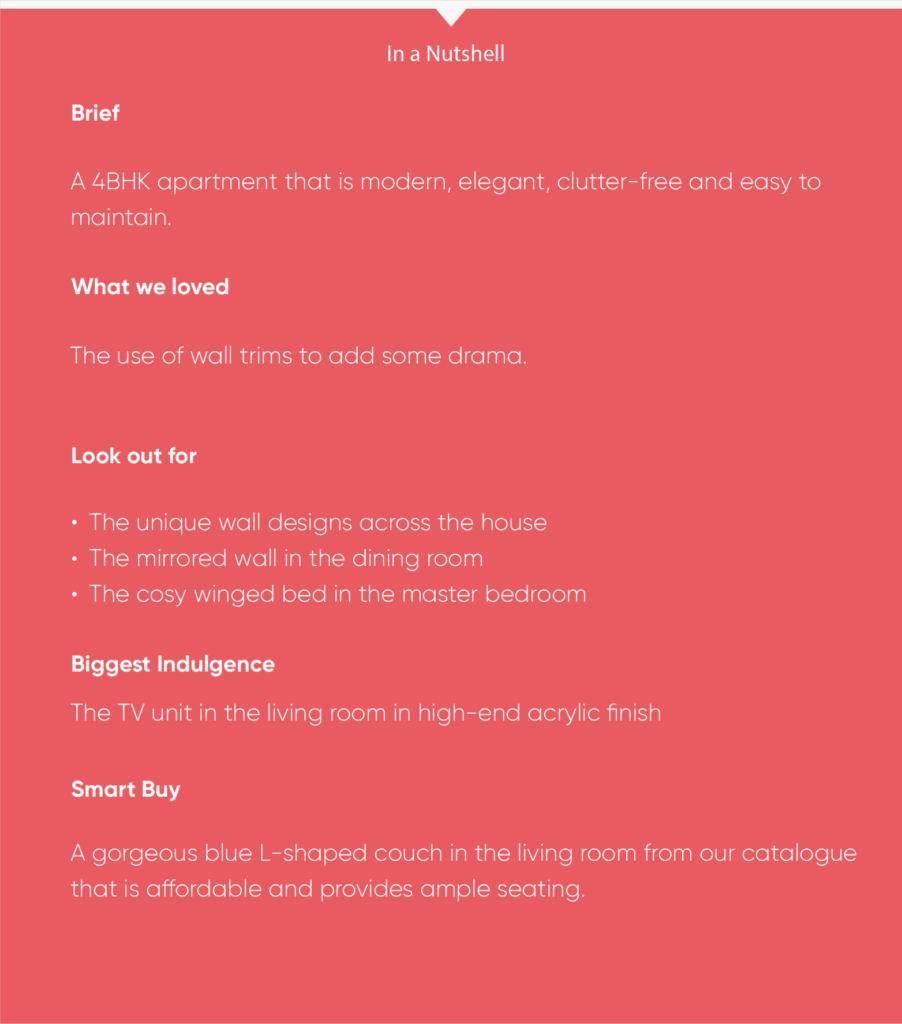 4BHK interior design-info box