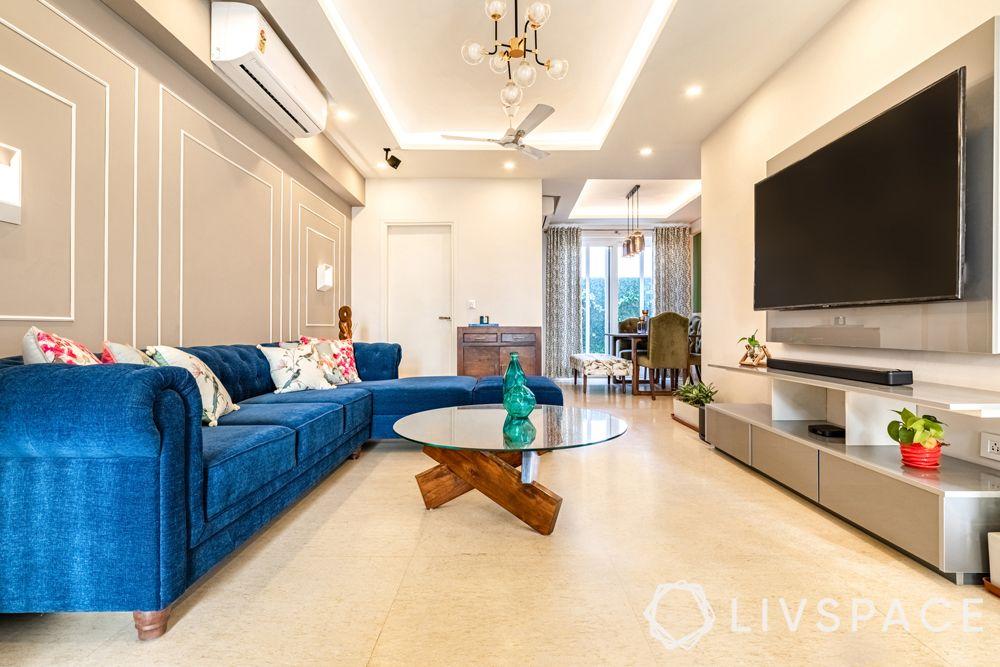 4BHK house design-living room-TV unit-crockery unit-centre table