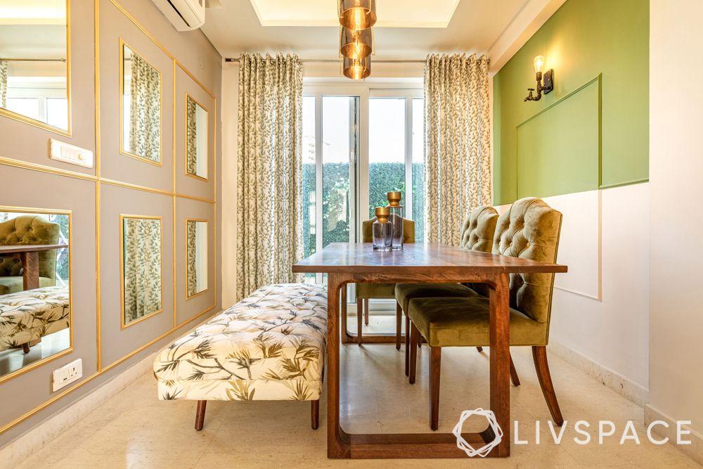 4BHK interior design-dining room-mirror wall-gold trims