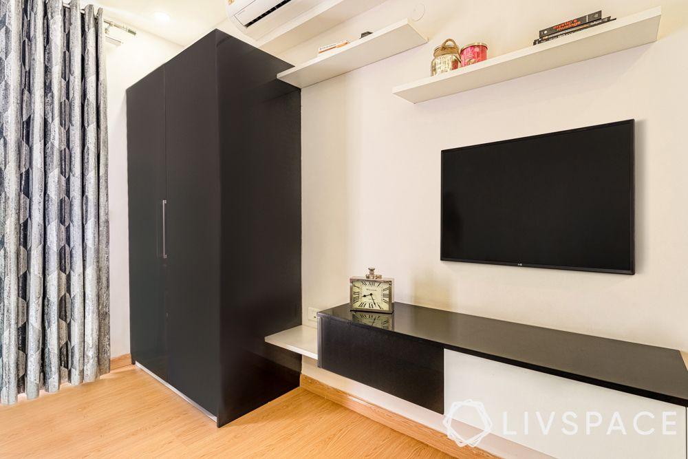 4BHK house design-membrane finish wardrobe-membrane finish TV unit