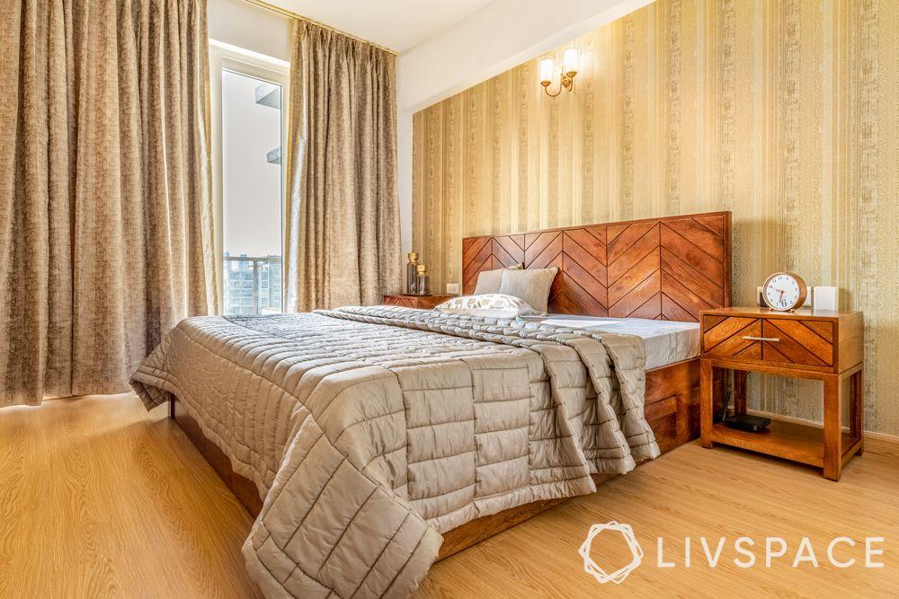 4BHK interior design-guest bedroom-wooden headboard-earthy décor