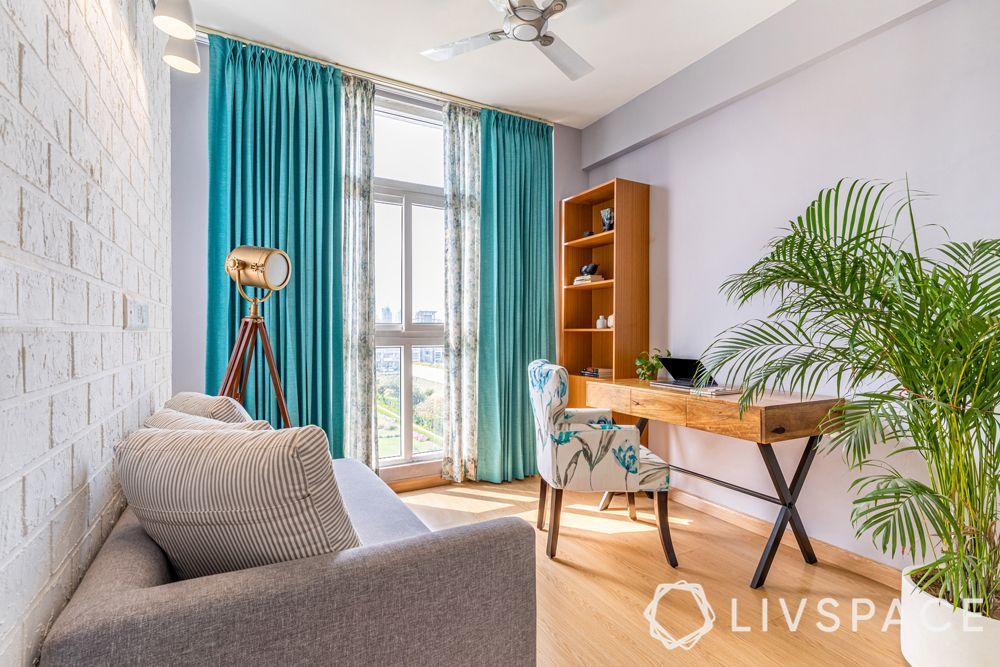 4BHK interior design-study room-turquoise design-studio light