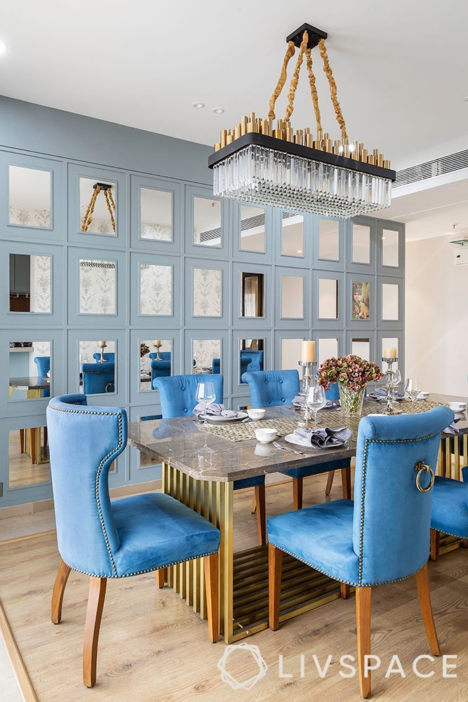 chandelier-art deco chandelier-blue dining chairs