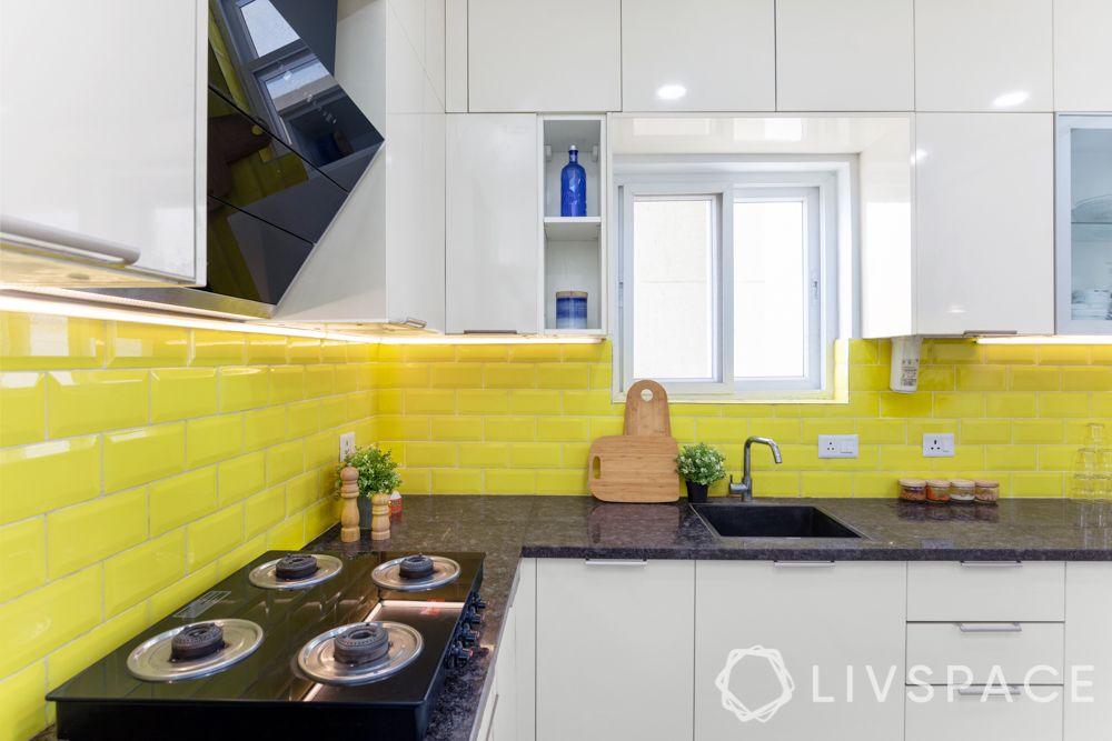 3 bhk home decoration-white kitchen-yellow tiles