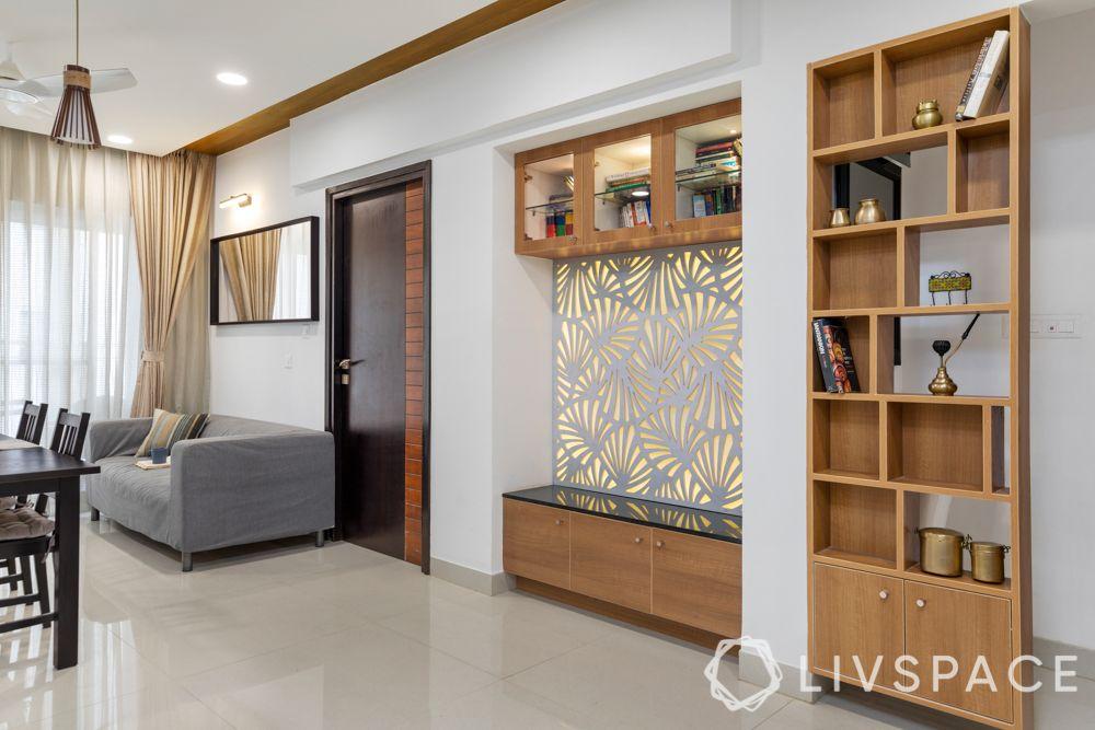 3 bhk home decoration-grey sofa-wooden shelf