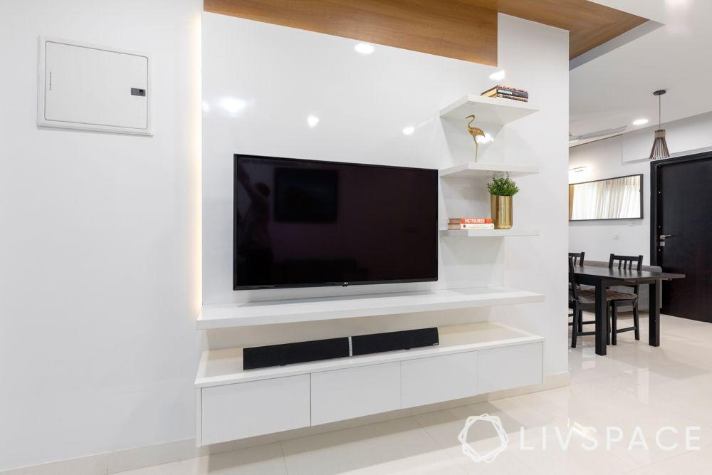 3 bhk home decoration-white tv unit