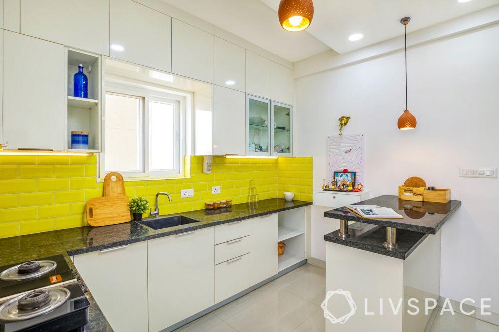 yellow tiles-island kitchen